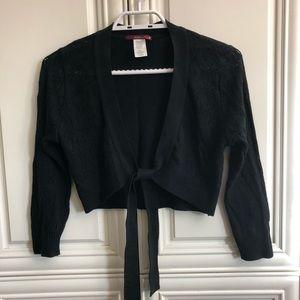 Silvergate black crop tie-front sweater